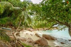 在塞舌尔群岛的热带海滩-自然背景 库存照片