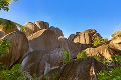 在塞舌尔群岛的热带风景 免版税库存照片