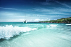 在塞舌尔群岛,普拉兰岛的海滩 库存照片
