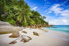 在塞舌尔群岛3的天堂海滩 免版税图库摄影