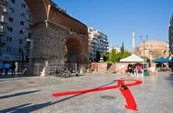 在塞萨罗尼基,希腊街道上的世界艾滋病日  图库摄影