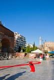 在塞萨罗尼基,希腊街道上的世界艾滋病日  免版税库存照片