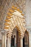在塞维利亚,西班牙皇家城堡的Mudejar装饰  免版税图库摄影