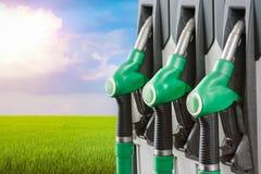 在填装的专栏的一定数量的燃料分配器以一个绿色领域为背景 生物剂量,生物燃料生态 免版税图库摄影