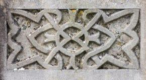 在墓碑的凯尔特设计细节 免版税库存照片