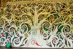 在墙壁、装饰和装饰上的传统图片 沙捞越文化村庄的古晋 马来西亚 库存图片