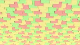 在墙壁上的五颜六色的柱子贴纸 计划或备忘录概念 4K移动式摄影车夹子的无缝的圈关闭 库存例证