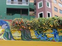 在墙壁上的五颜六色的绘画在Barranco垮了的一代人区 免版税库存照片
