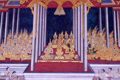 在墙壁上的传统泰国艺术绘画 免版税库存图片
