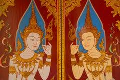 在墙壁上的传统泰国样式艺术绘画在寺庙 免版税库存图片