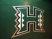 在墙壁上的夏威夷大学商标 库存照片
