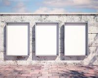 在墙壁上的大模型广告牌 3d 库存照片