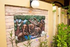 在墙壁上的大象艺术 库存照片