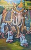 在墙壁上的大象绘画在寺庙 库存图片