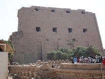 在墙壁上的安心 埃及 埃及废墟 库存图片