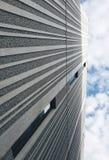 在墙壁上的平行的灰色线 灰色天空线看法树荫  免版税库存照片