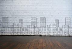 在墙壁上的抽象建筑学图画 免版税库存图片