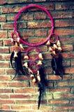 在墙壁上的桃红色dreamcatcher 图库摄影