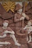 在墙壁上的泰国文化 库存照片