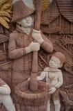 在墙壁上的泰国文化 图库摄影