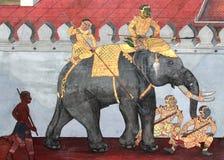 在墙壁上的泰国艺术绘画 图库摄影