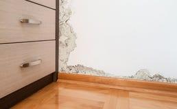 在墙壁上的潮湿造成的损伤在现代房子 免版税图库摄影