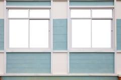 在墙壁上的现代白色窗口 库存照片