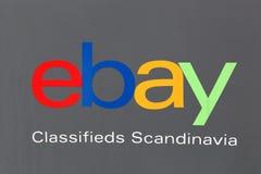 在墙壁上的电子港湾斯堪的那维亚商标 免版税图库摄影