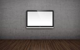在墙壁上的电视屏幕 库存例证