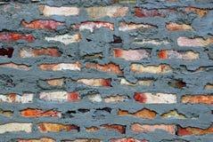 在墙壁上的砖在灰色水泥膏药 免版税库存照片