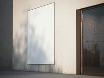 在墙壁上的空白的广告牌 3d翻译 免版税库存照片