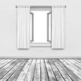 在墙壁上的窗口在黑白 免版税图库摄影