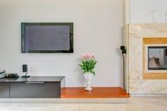 在墙壁上的等离子电视 免版税库存照片