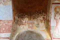在墙壁上的绘画在圣尼古拉斯教会里  库存图片
