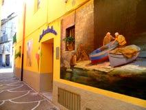 在墙壁上的美丽的壁画 图库摄影