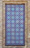 在墙壁上的老东部马赛克,乌兹别克斯坦 免版税库存图片