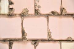 在墙壁上的老破裂的瓦片 免版税库存照片