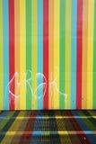 在墙壁上的色线在加拉加斯,都市艺术在委内瑞拉 免版税库存照片