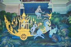 在墙壁上的菩萨绘画在寺庙 库存图片