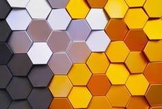 在墙壁上的蜂窝形状五颜六色的装饰陶瓷砖 免版税库存照片