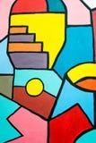 在墙壁上的街道艺术当代绘画 几何抽象的背景 库存图片