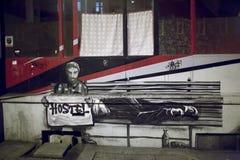 在墙壁上的街道画。 库存照片