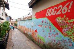 在墙壁上的街道画在万隆,印度尼西亚 免版税库存图片