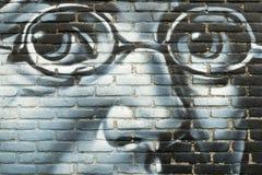 在墙壁上的街道画有弗朗茨・舒伯特画象的  库存图片