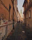 在墙壁上的街道画,布拉索夫,斯洛伐克 免版税库存照片