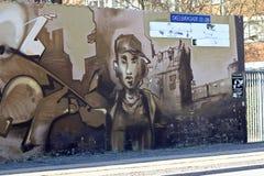 在墙壁上的街道画 库存照片