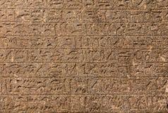 在墙壁上的象形文字的雕刻 库存图片