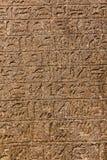 在墙壁上的象形文字的雕刻 免版税库存照片