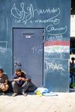 在墙壁上的难民消息在Keleti火车站在Budape 库存图片