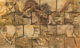在墙壁上的马 免版税图库摄影